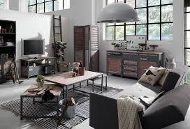 canapé style industriel decoration table basse style industriel bois massif cadre metal