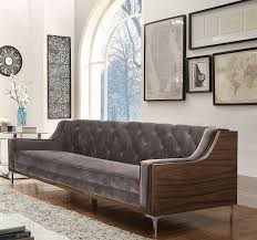 grey velvet tufted sofa amazon com iconic home clark modern contemporary light grey