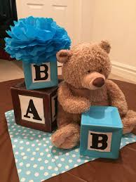 teddy centerpieces for baby shower alphabet blocks and teddy themed centerpiece baby shower
