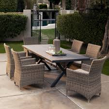 Outdoor Dining Room Bella All Weather Wicker Patio Dining Set Seats 6 Patio Dining