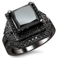 black bridal sets black gold 4 1 4ct certified princess black diamond engagement set