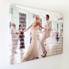 cotton anniversary ideas wedding photo with song lyrics in back of the on canvas