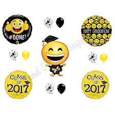 emoji emoticon class of 2017 yellow graduation party balloons
