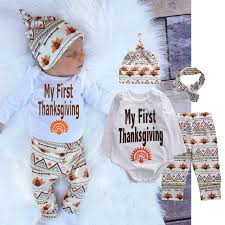 newborn baby boys thanksgiving romper tops hat