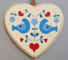 wooden folk art heart hanging christmas decoration love hearts