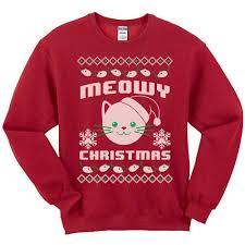 meowy christmas meowy christmas sweatshirt animal hearted apparel