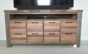 Free Wooden Shelf Plans by Reclaimed Wood Media Console My Love 2 Create