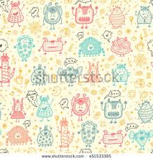 hand drawn doodle fictional fabulous creatures stock vector