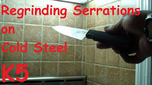 cold steel kitchen knives regrinding serrations on cold steel k5 kitchen knife youtube