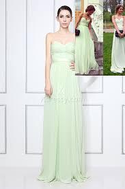 mint green chiffon strapless sweetheart a line long celebrity prom