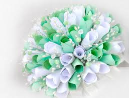 mint green flowers mint green and white paper bouquet accents and petals