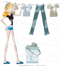 laundry line design vector of girl hanging clean laundry on a clothes line by bnp design