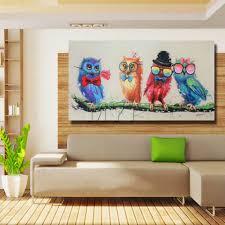 Livingroom Cartoon Aliexpress Com Buy Cartoon Funny Birds Canvas Wall Art Oil