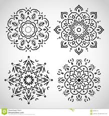 set of arabic circle ornaments black on white in stock