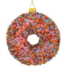 exclusive pink frosted sprinkle donut glass ornament food