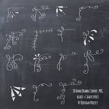 hand drawn chalkboard corner clip art for scrapbooking card