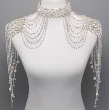 neck choker necklace images Bridal couture steampunk glamour crystal shoulder neck choker body jpg