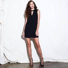 black shift dress greylin dawson mock neck shift dress with choker neckline