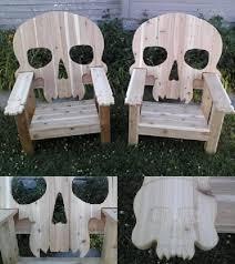 Adirondack Patio Chair Skull Adirondack Chair Wood Cedar Custom Skull Patio Chairs