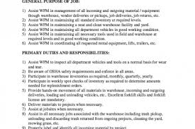 Maintenance Job Resume by General Warehouse Worker Cover Letter