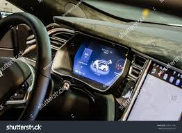 suv tesla inside poznan poland april 0609 2017 motor stock photo 638717485
