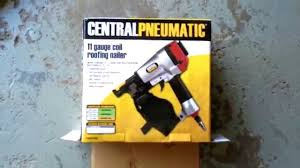 Central Pneumatic Framing Nail Gun by Harbor Freight Roof Nailer On A 3 Gallon Air Compresssor Youtube