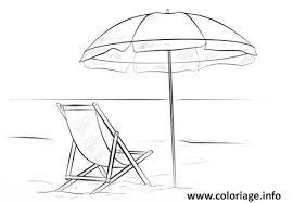 coloriage parasol avec chaise de plage vacance ete dessin