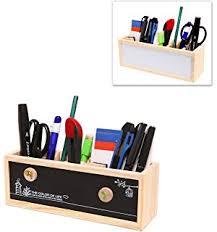 Desk Pencil Holder Amazon Com Fenleo Wooden Creative Calendar Pen And Pencil Holder
