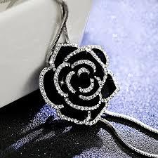 black rose necklace images Black silver crystal rose necklace basically zen fine unique jpg