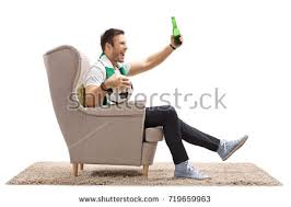 Armchair Supporter Excited Soccer Fan Scarf Sitting Armchair Stock Photo 713313148