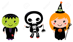 happy kids in halloween costumes vector cartoon illustration