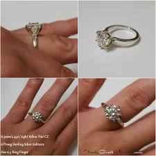 size 6 engagement ring classic 6 prong cz engagement ring light yellow tint