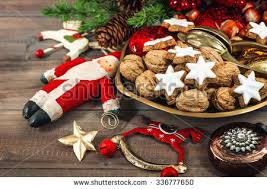 christmas cookies walnuts vintage decorations on stock photo