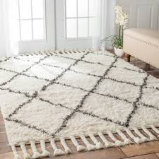 Area Rugs Shag Nuloom Knotted Moroccan Trellis Shag Wool Rug 8 X