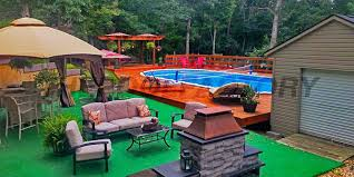 wooden pool decks for above ground pools pool deck ideas on a