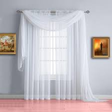 warm home designs white window scarf valance sheer white curtains