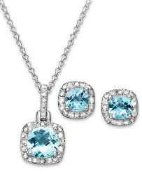 sterling necklace images Sterling silver cushion blue topaz sapphire with white diamonds jpg