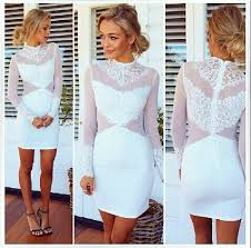 cheap turtleneck long sleeves mesh hollow out patchwork white