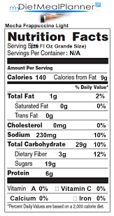 mocha frappuccino light calories nutrition facts label beverages 17 mydietmealplanner com