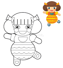 cartoon doll coloring preview children