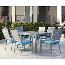powder coated aluminum outdoor dining table blue grey veil 7 piece powder coated aluminum rectangular outdoor
