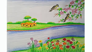 how to draw a scenery of spring season step by step very easy