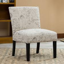Contemporary Accent Chair Botticelli Letter Print Fabric Armless Contemporary Accent