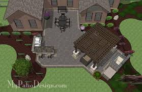 Large Paver Patio Design With Grill Station Bar Plan No by Courtyard Paver Patio Design With Pergola U0026 Fireplace Download