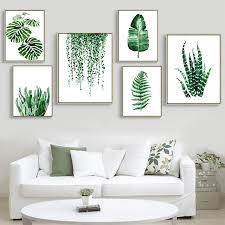 plante verte dans une chambre moderne vert plante tropicale feuilles toile print affiche