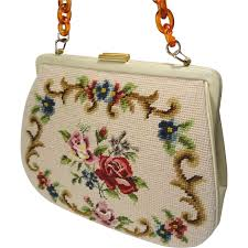 vintage needlepoint petit point purse handbag w lucite tortoise