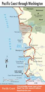 Washington State Road Map by Pacific Coast Route Through Washington State Road Trip Usa