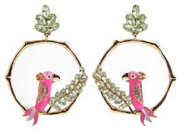 statement earrings kate spade gold pink multi 12k plated haute stuff parrot statement