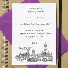 Wedding Invitations Glasgow City Skyline Postcard Wedding Or Party Invites By Becka Griffin