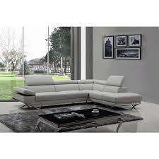 grey sofa modern divani casa quebec modern light grey eco leather sectional sofa